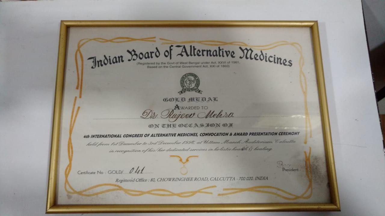 Certificate Gold Medalist 1996