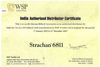 Distributorship Certificate WSP Textiles Ltd.
