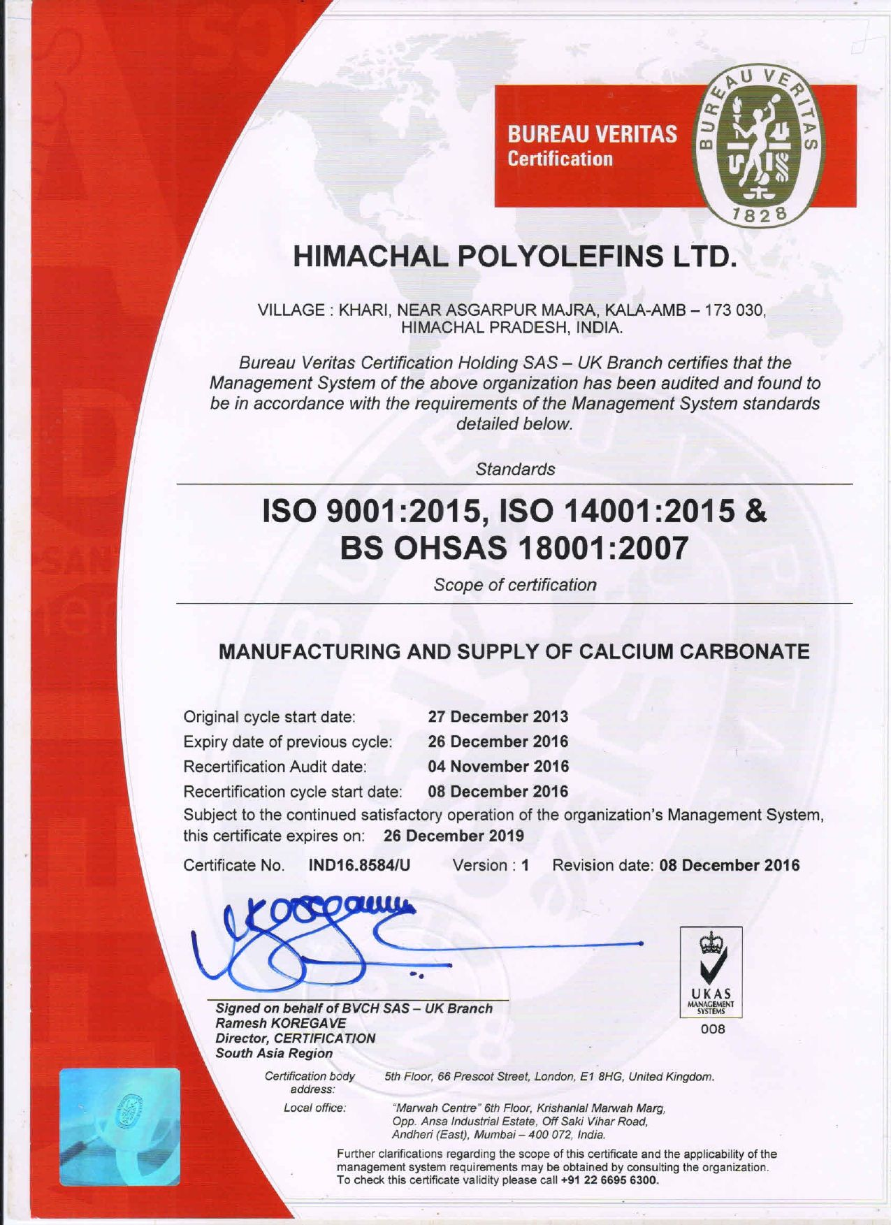 ISO 9001-2015, ISO 14001-2015 & OHSAS 18001-2007 Certificate