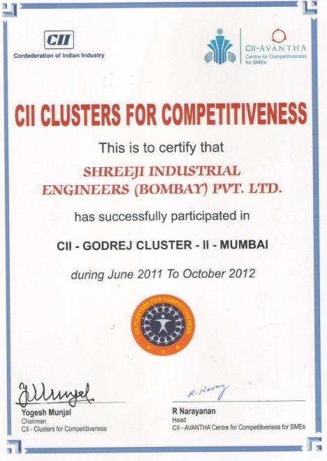 Certificate of Confederation of Indian Industry