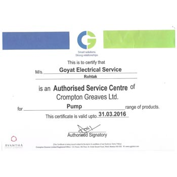Auth.Certificate From Crompton Greaves for Pumps-2015-2016