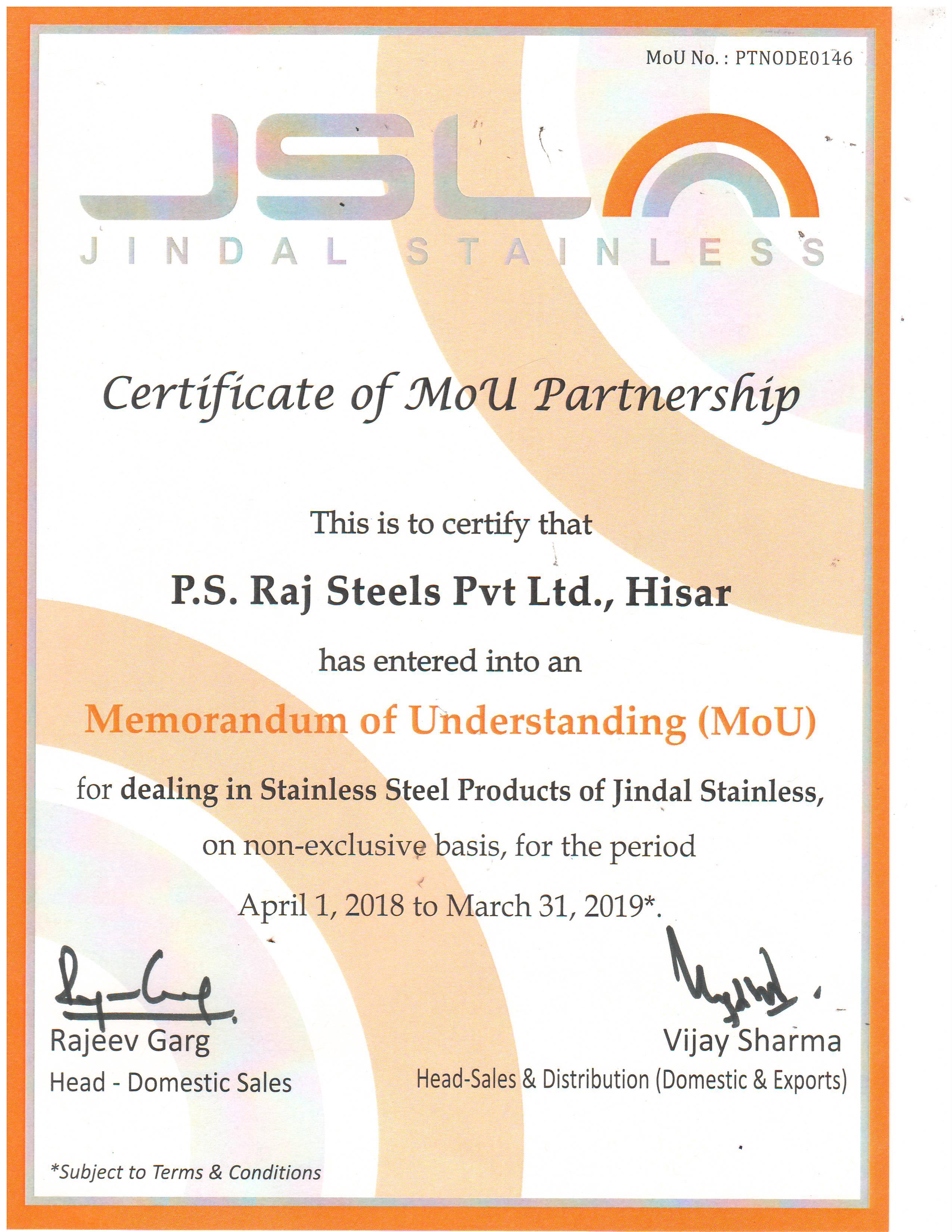 MOU Partnership Certificate