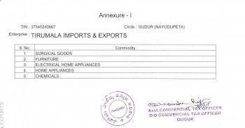 Tirumala Imports & Exports Annexure-1