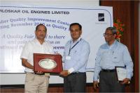 Quality Award Received from Kirloskar Oil Engines Ltd.