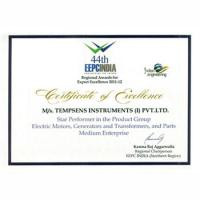 Certificate of Excellence  Tempsens Wins EEPC INDIA - Regional Awards (Northern)
