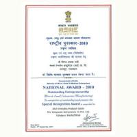 Msme National Award - 2010 for Outstanding Efforts in Entrepreneurship in Mse,S(mfg.)