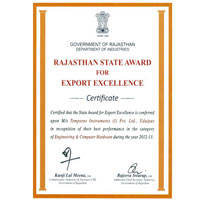 Rajasthan Export Excellence Award-2012-13 (ISO 9001:2008)