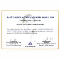 Rajiv Gandhi National Quality Award, 2005  Commendation Certificate - Small Scale manufacturing Industry
