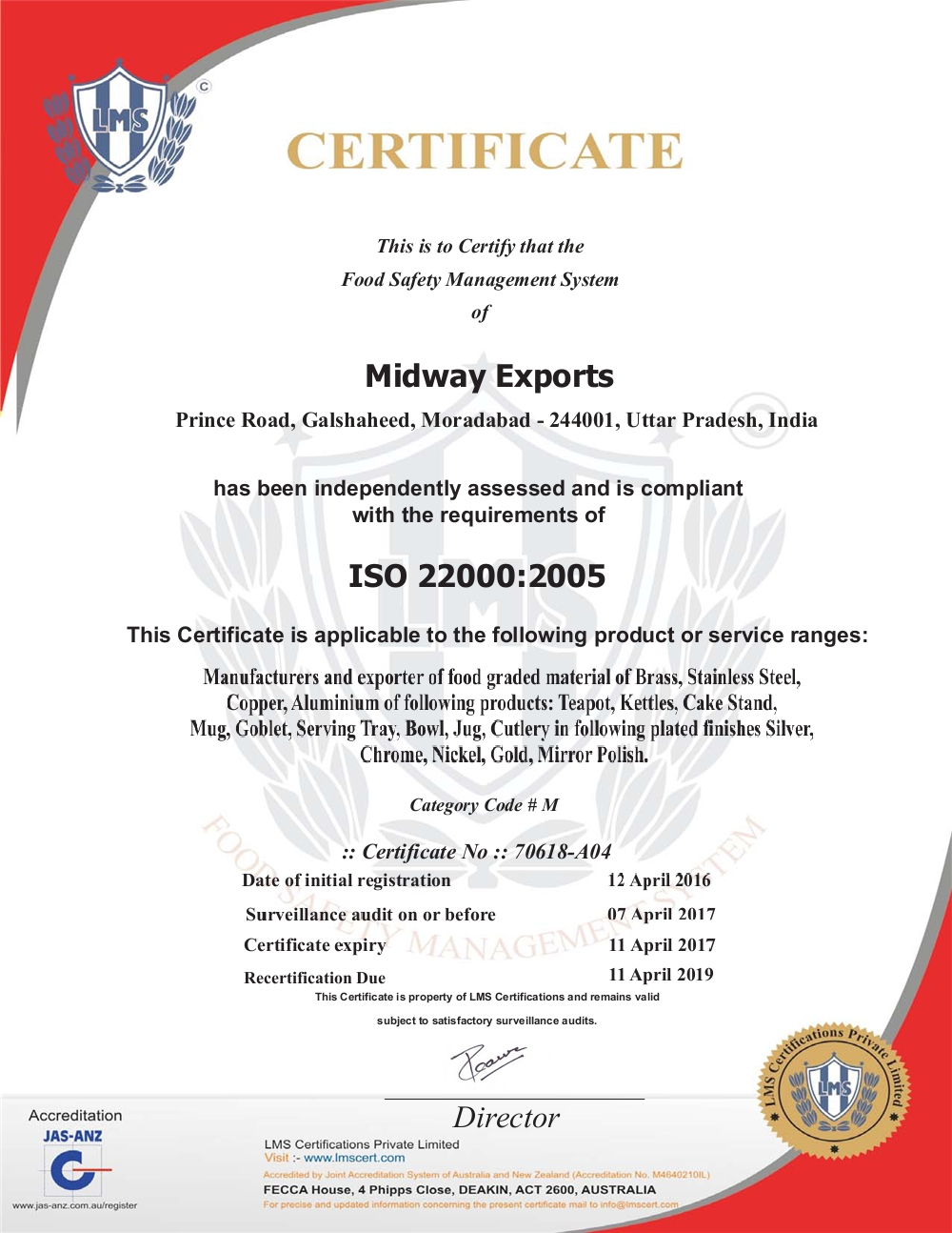 Certificates - Midway Exports from Moradabad Uttar Pradesh India
