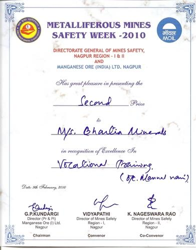 Mines Safety Week Certificate 2010