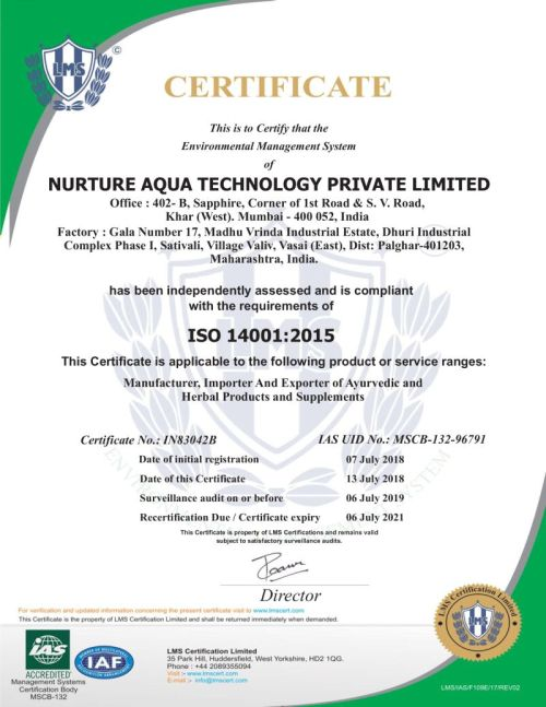 ISO 14001-2015 Valid Until 6th July 2021
