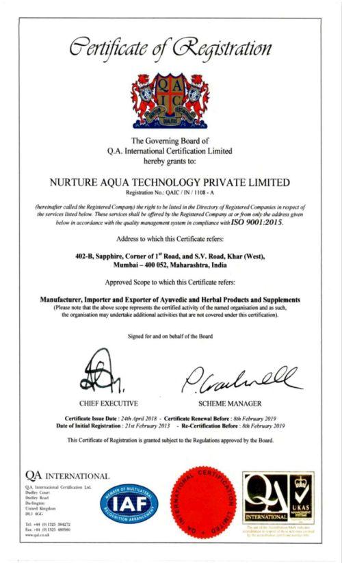 ISO 9001 2015 Valid Until 8th Feb 2019