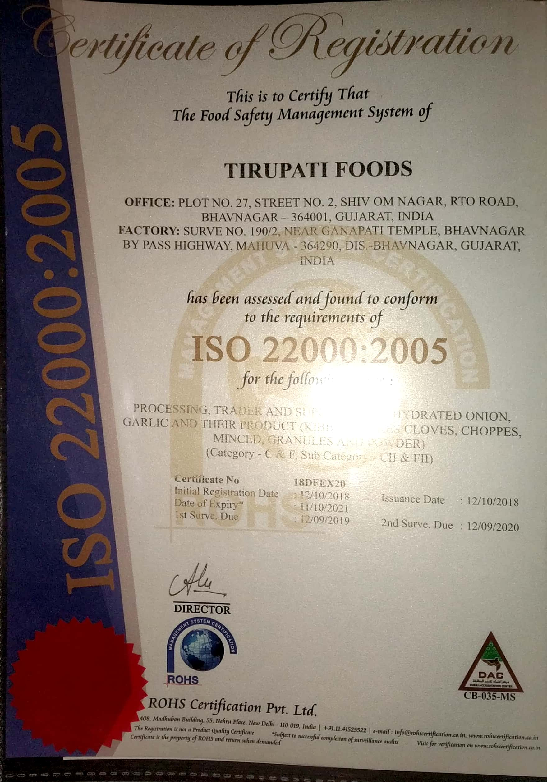 ISO 22000:2005  Certificate
