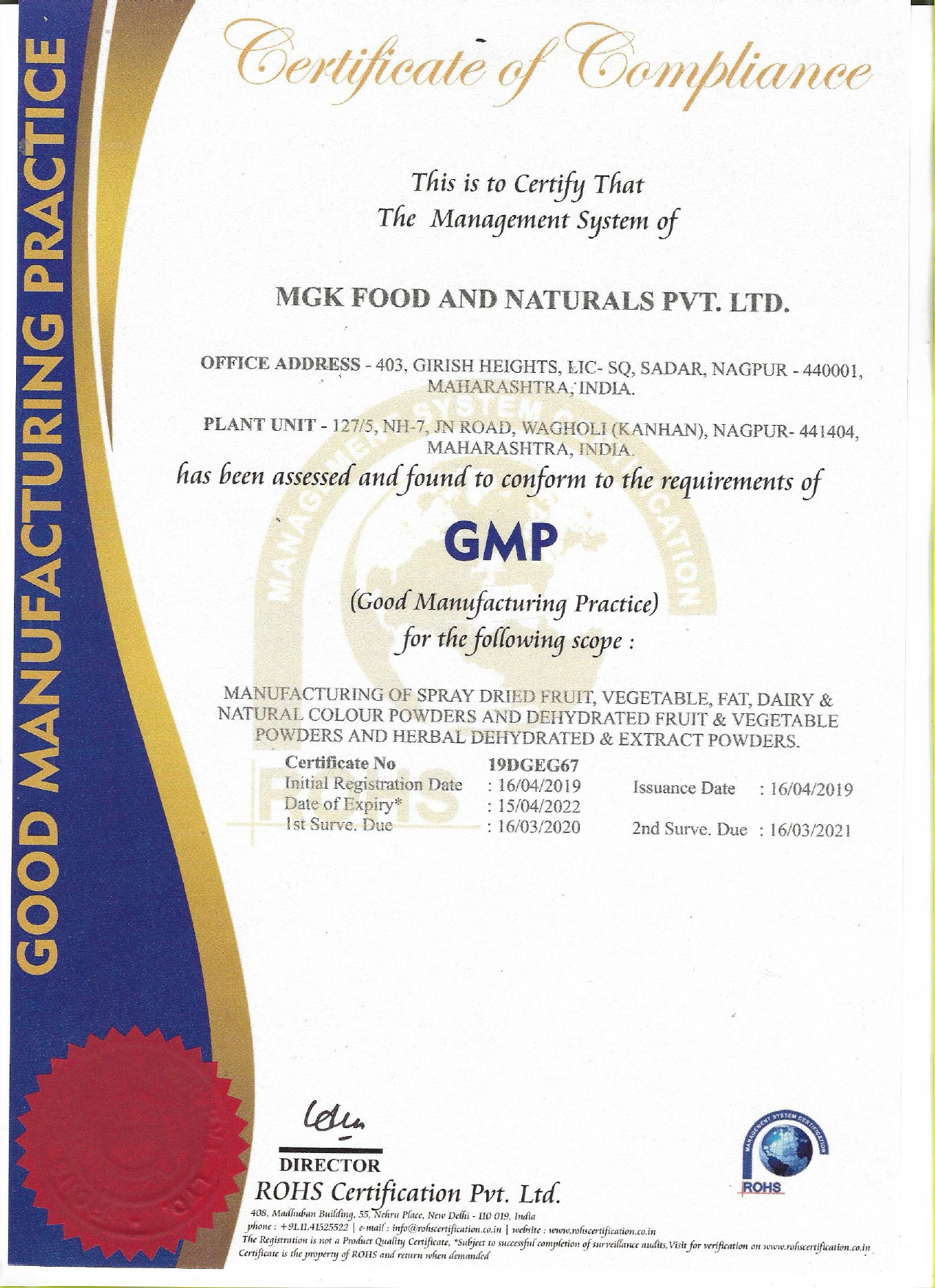 GMP Certificate - MGK Food And Naturals Pvt  Ltd  from
