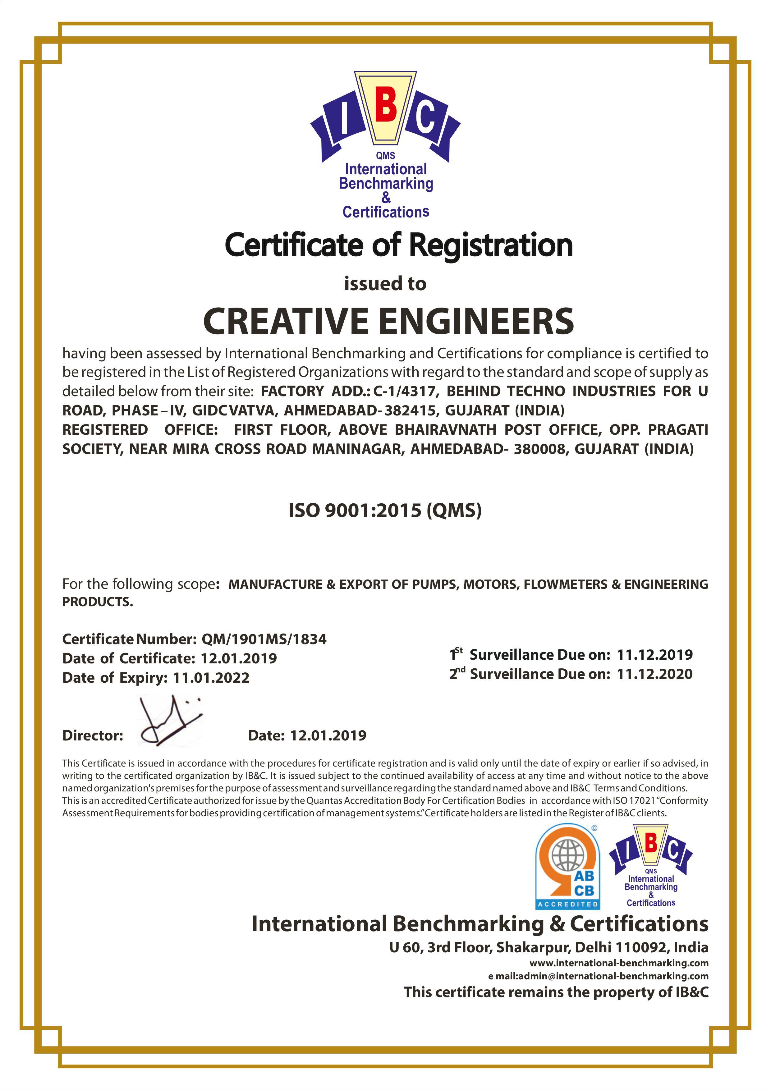 ISO 9001:2015(QMS) Ceritificate