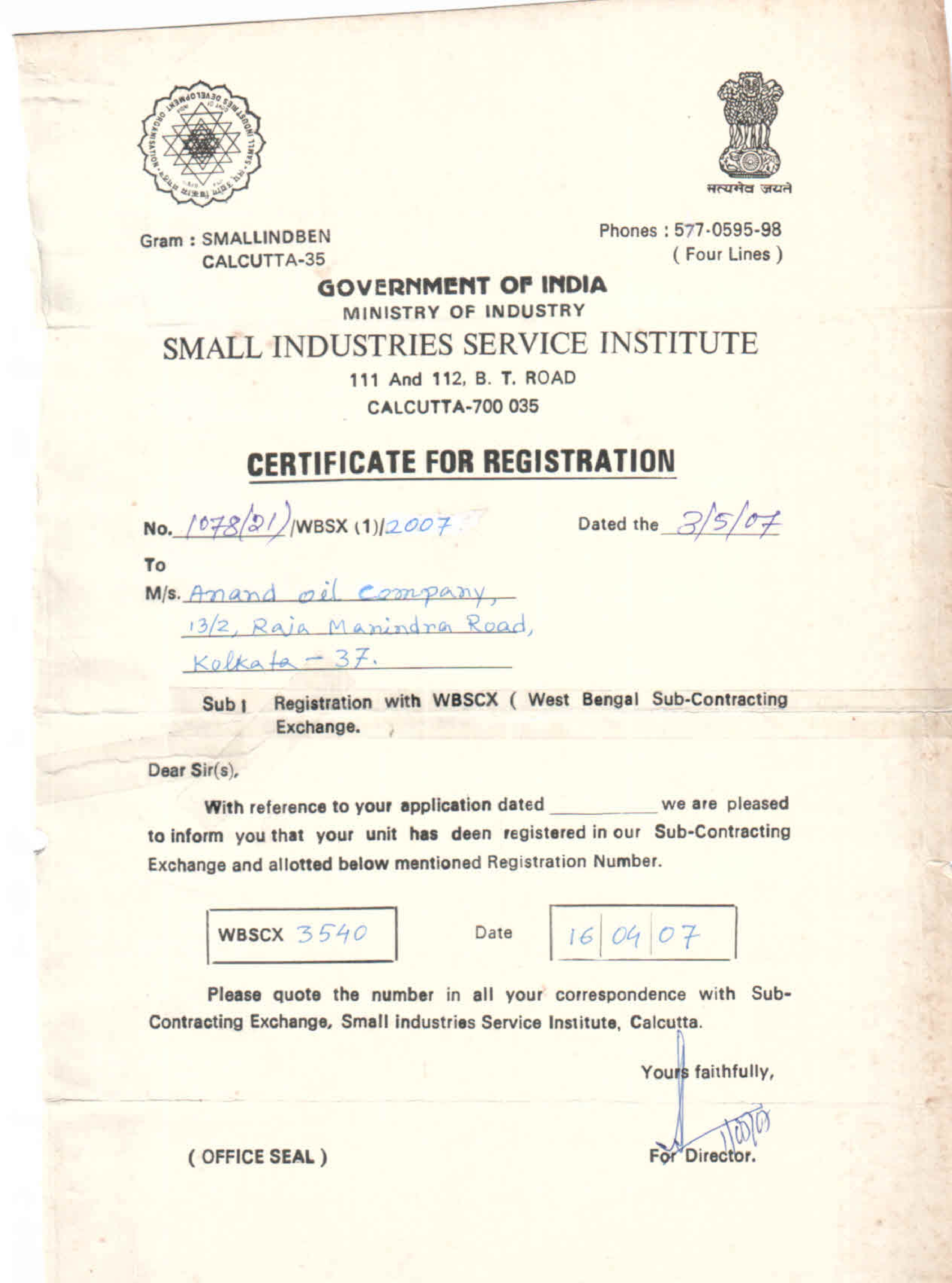 Certificate For Registration