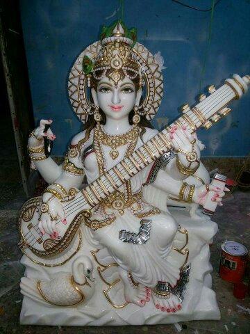 White Marble Mata Saraswati Statue