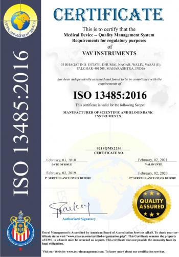 ISO 13485 : 2016 Certificate