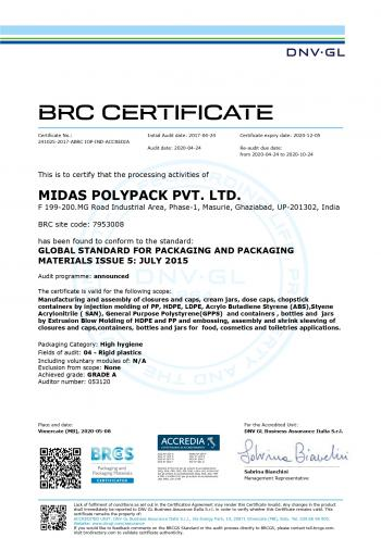 BRC Certification (with A-grade )