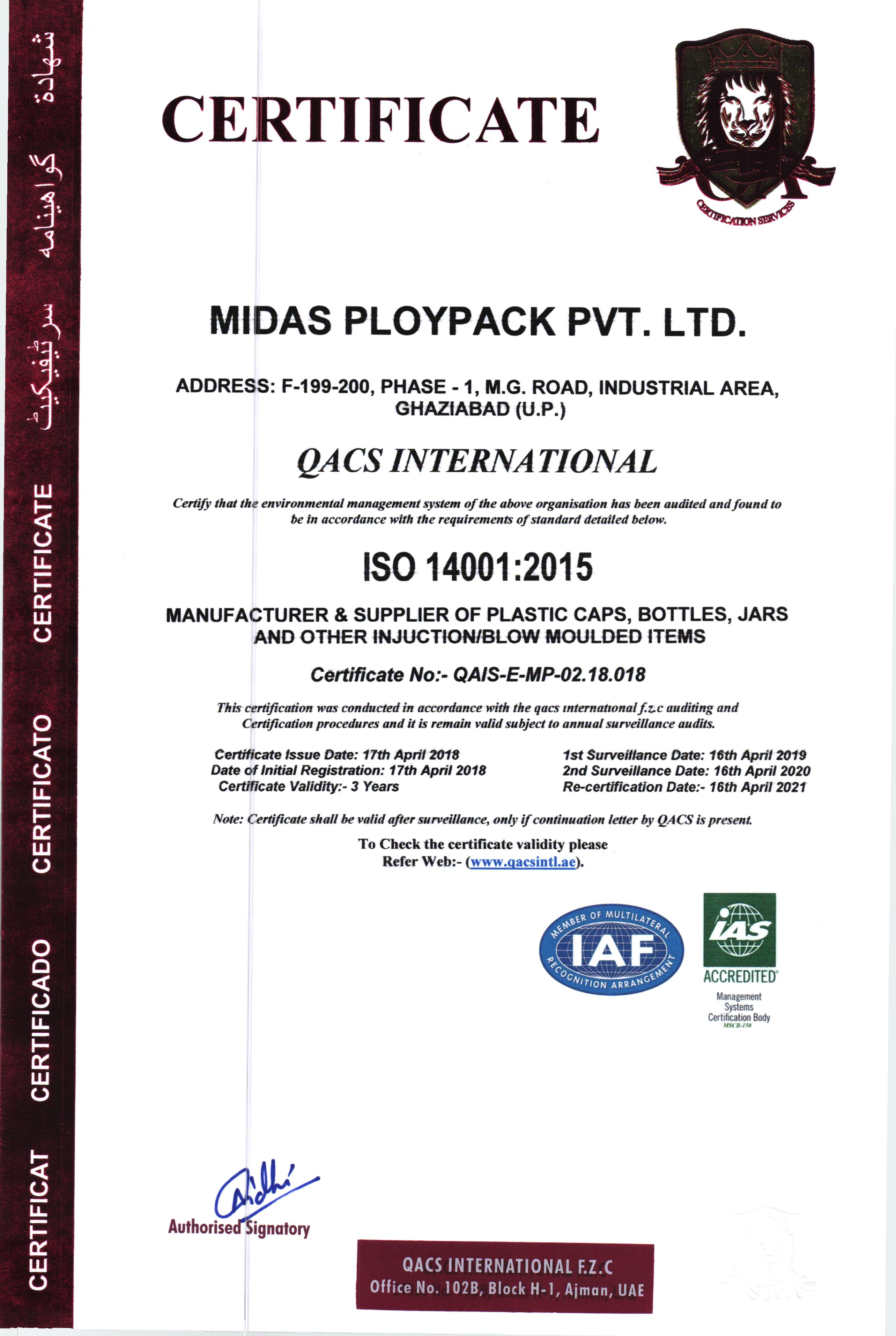 ISO 14001 :2015 Certification