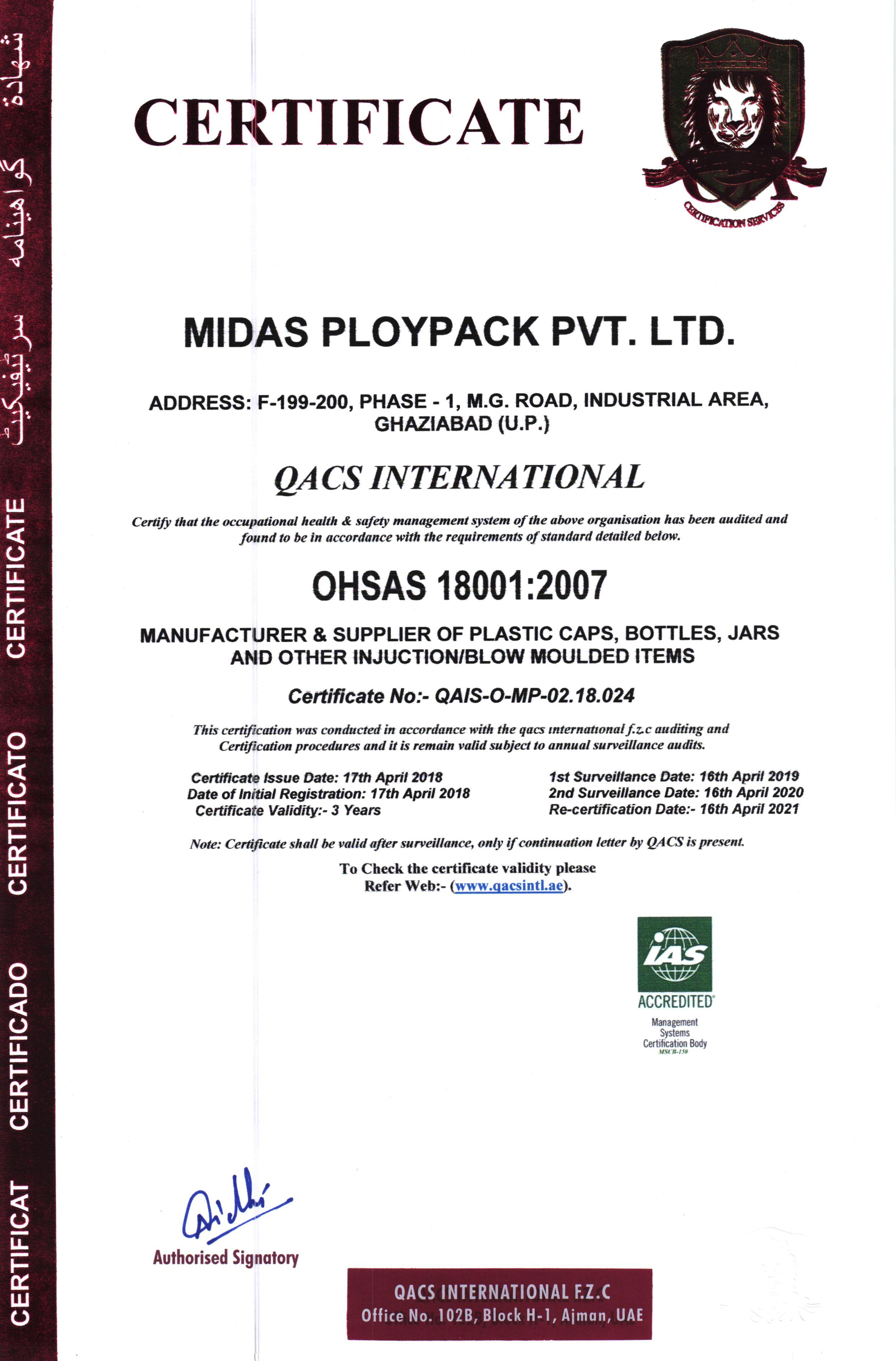 OHSAS 1800:2007 Certification